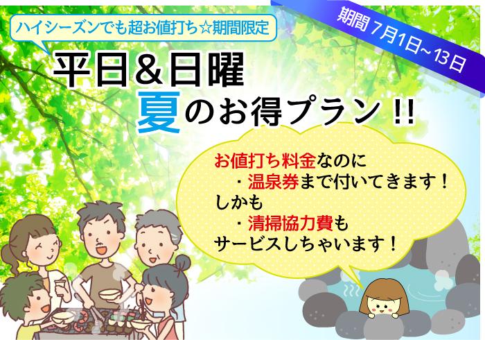 平日&日曜夏のお得プラン!